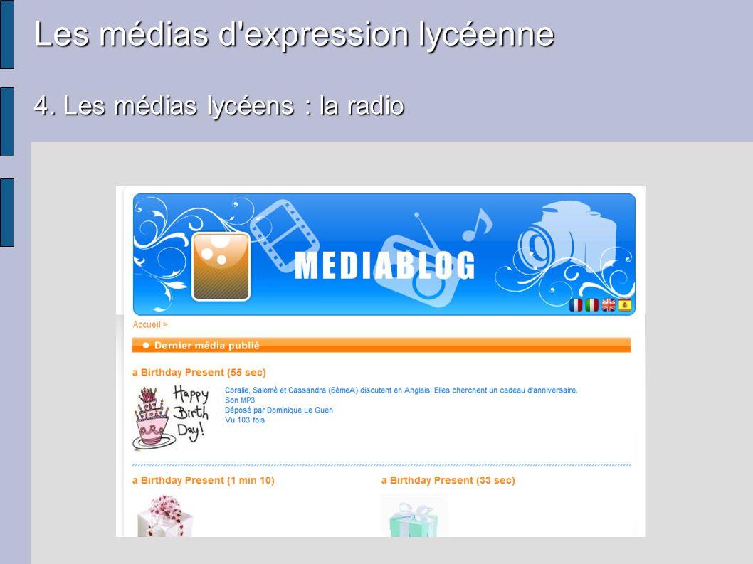 Les médias d'expression lycéenne 4. Les médias lycéens : la radio