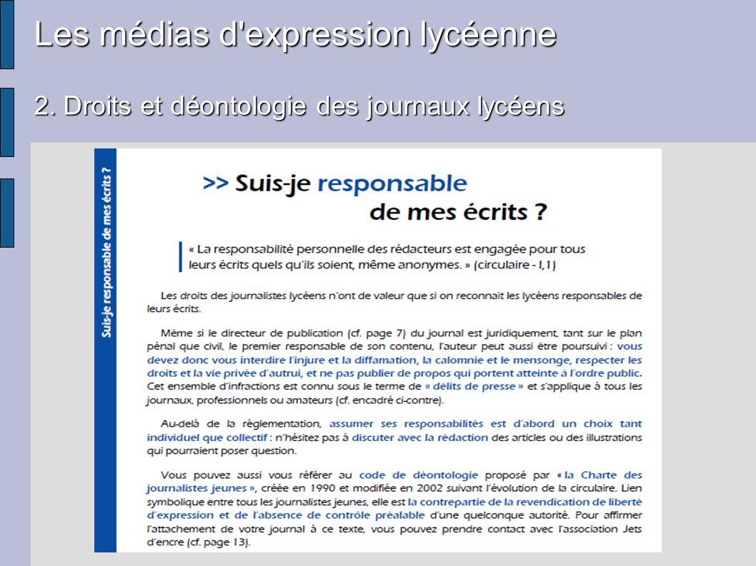 Les médias d'expression lycéenne 2. Droits et déontologie des journaux lycéens