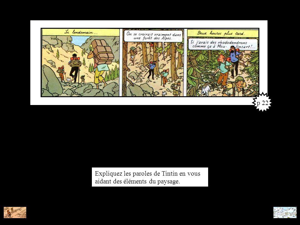 Expliquez les paroles de Tintin en vous aidant des éléments du paysage. p 22