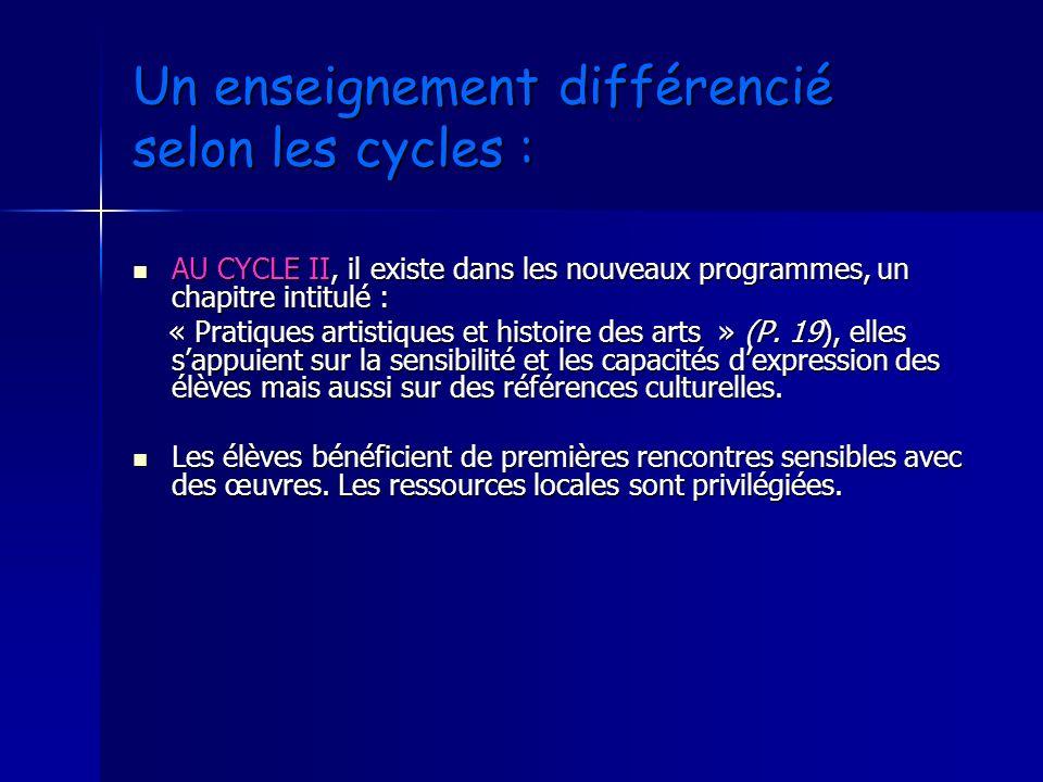 Un enseignement différencié selon les cycles : AU CYCLE II, il existe dans les nouveaux programmes, un chapitre intitulé : AU CYCLE II, il existe dans