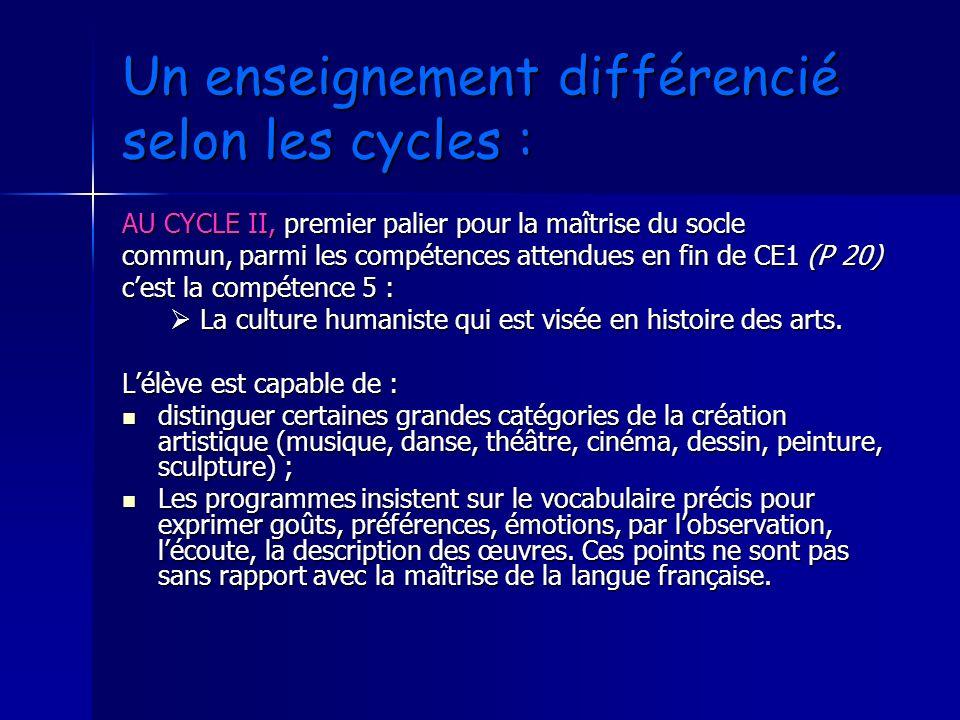Un enseignement différencié selon les cycles : AU CYCLE II, premier palier pour la maîtrise du socle commun, parmi les compétences attendues en fin de