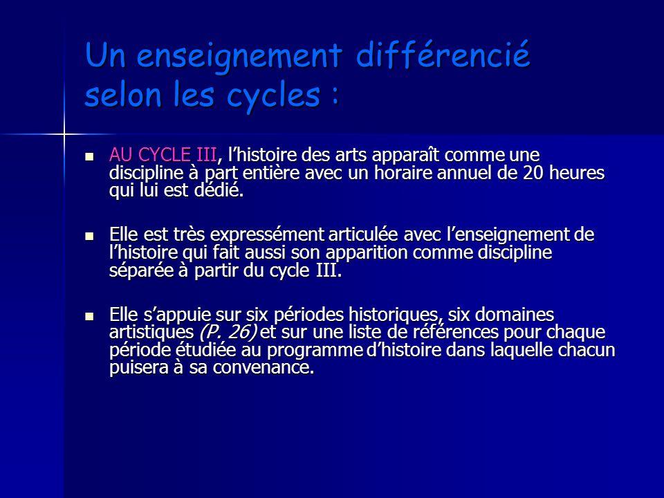 Un enseignement différencié selon les cycles : AU CYCLE III, lhistoire des arts apparaît comme une discipline à part entière avec un horaire annuel de