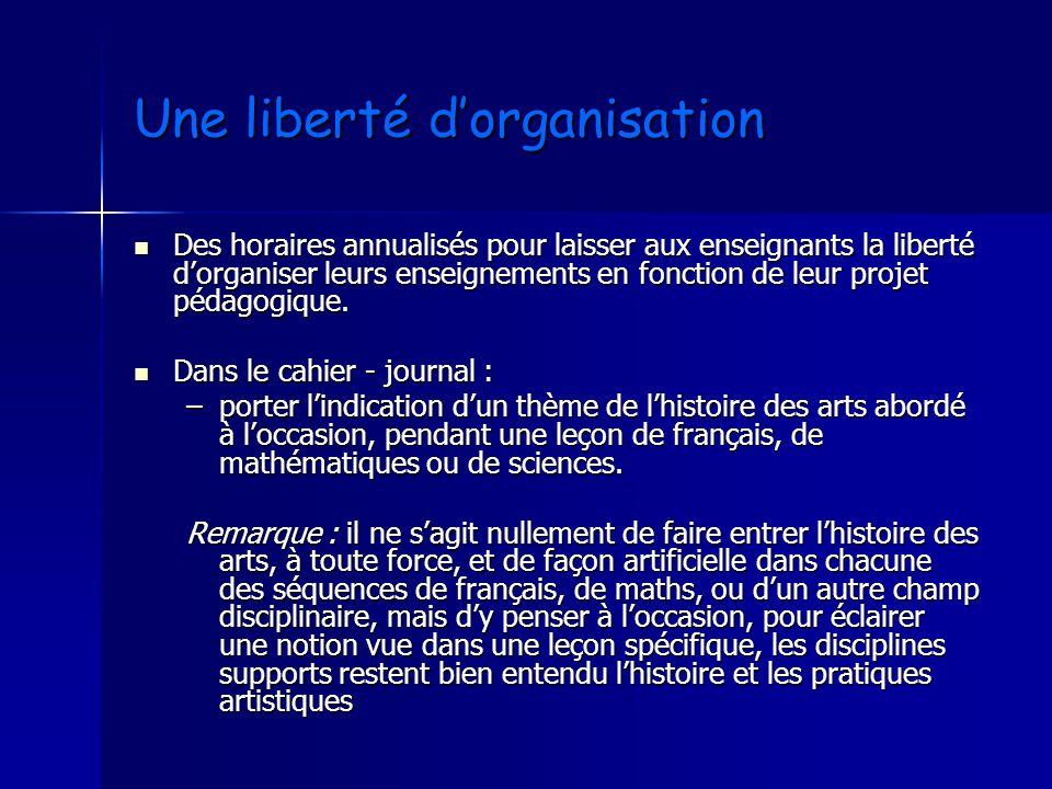 Une liberté dorganisation Une liberté dorganisation Des horaires annualisés pour laisser aux enseignants la liberté dorganiser leurs enseignements en