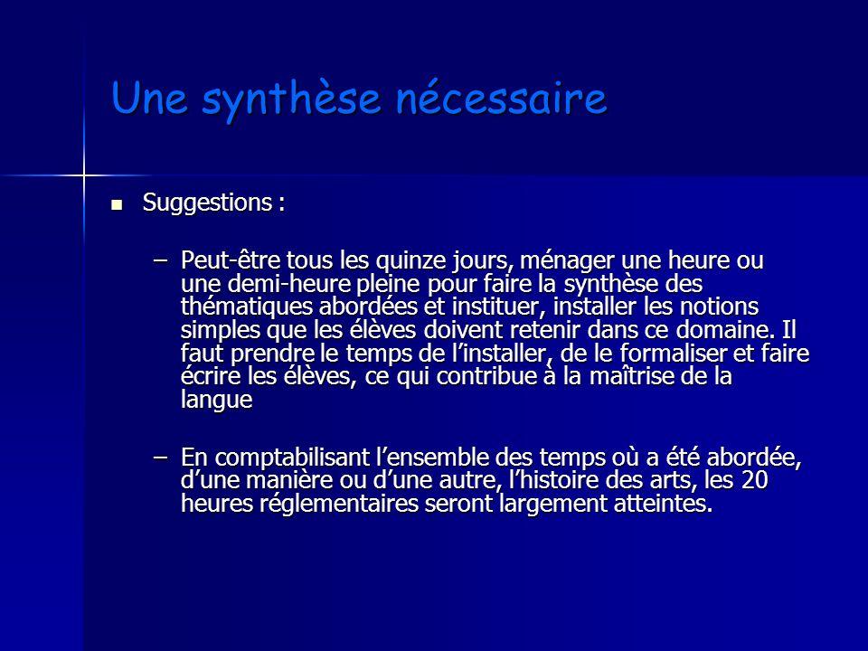 Une synthèse nécessaire Suggestions : Suggestions : –Peut-être tous les quinze jours, ménager une heure ou une demi-heure pleine pour faire la synthès