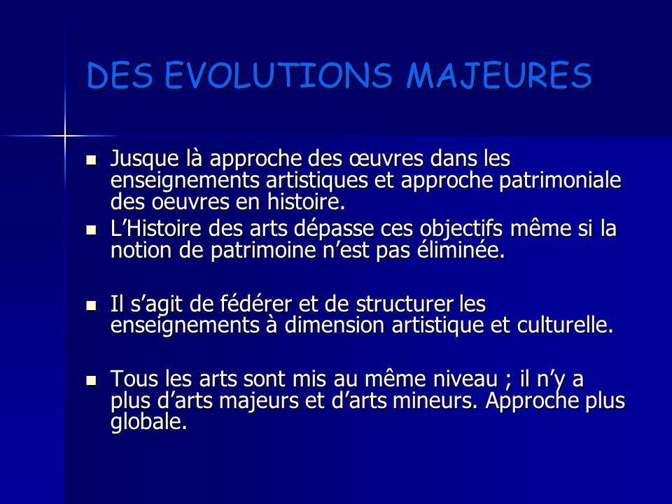 DES EVOLUTIONS MAJEURES Jusque là approche des œuvres dans les enseignements artistiques et approche patrimoniale des oeuvres en histoire. Jusque là a