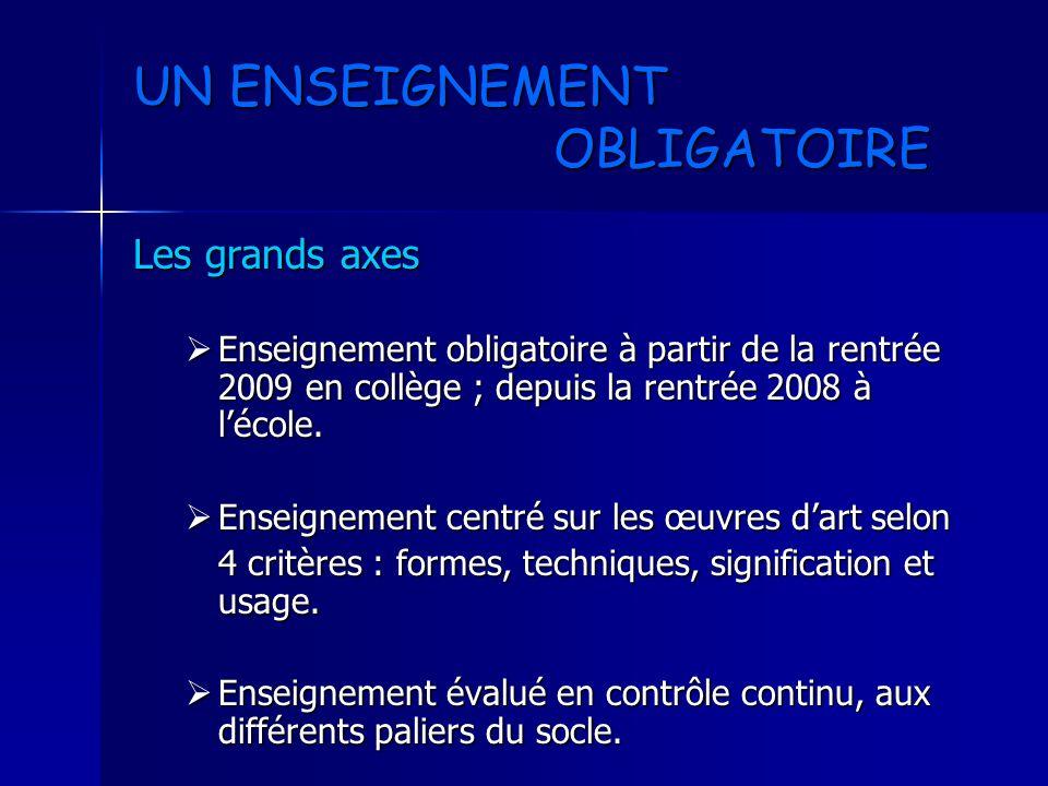 UN ENSEIGNEMENT OBLIGATOIRE Les grands axes Enseignement obligatoire à partir de la rentrée 2009 en collège ; depuis la rentrée 2008 à lécole. Enseign