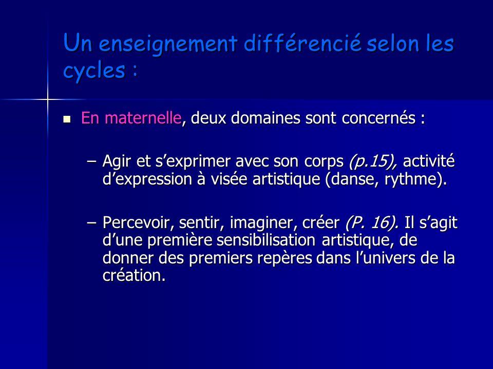 U n enseignement différencié selon les cycles : En maternelle, deux domaines sont concernés : En maternelle, deux domaines sont concernés : –Agir et s