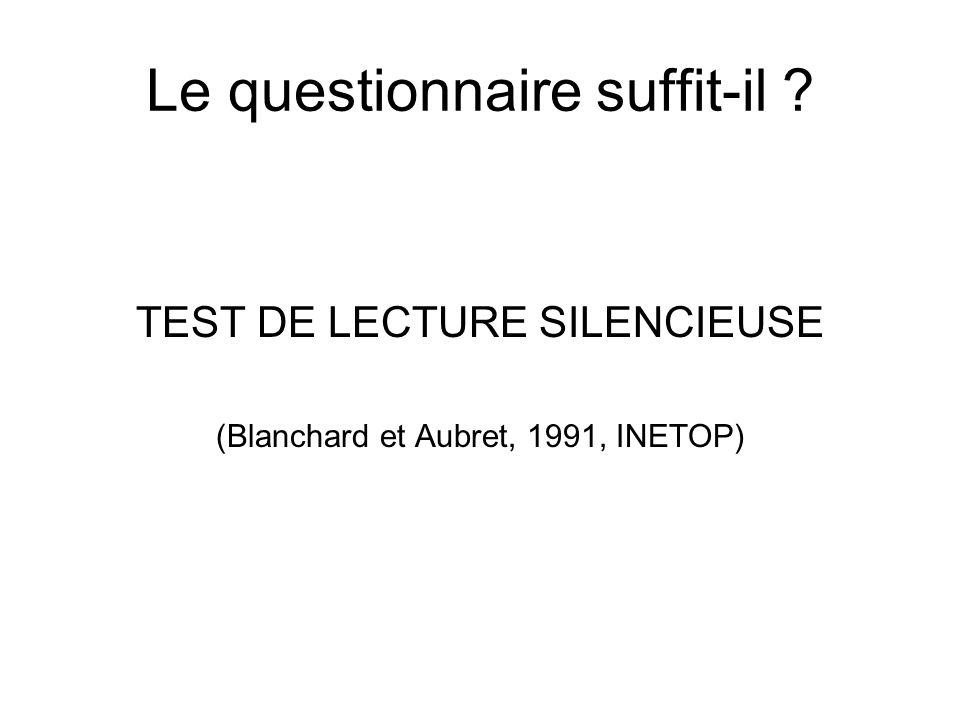 Le questionnaire suffit-il ? TEST DE LECTURE SILENCIEUSE (Blanchard et Aubret, 1991, INETOP)