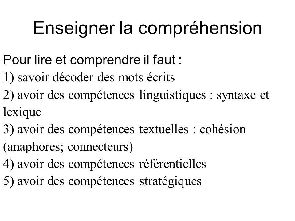 Enseigner la compréhension Pour lire et comprendre il faut : 1) savoir décoder des mots écrits 2) avoir des compétences linguistiques : syntaxe et lex