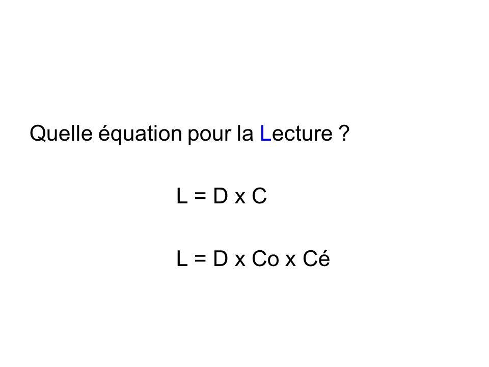 Quelle équation pour la Lecture ? L = D x C L = D x Co x Cé