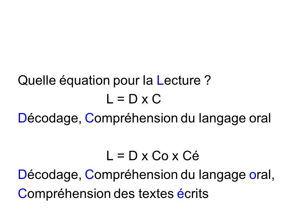 Quelle équation pour la Lecture ? L = D x C Décodage, Compréhension du langage oral L = D x Co x Cé Décodage, Compréhension du langage oral, Compréhen