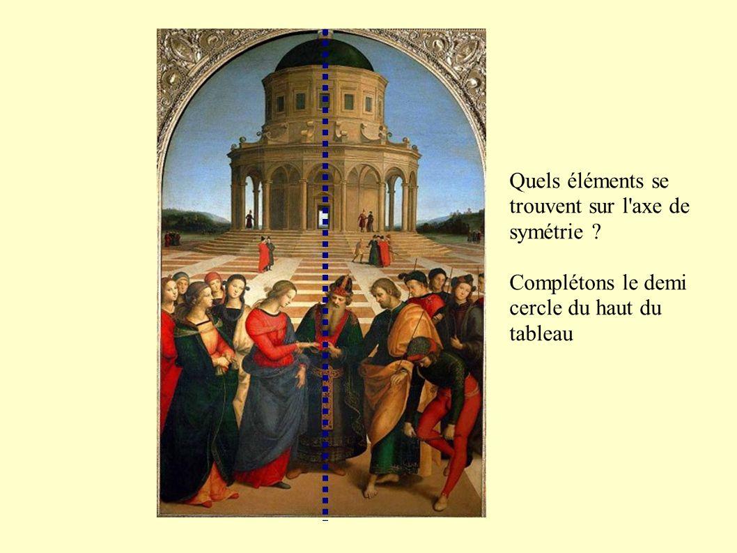 Quels éléments se trouvent sur l axe de symétrie Complétons le demi cercle du haut du tableau