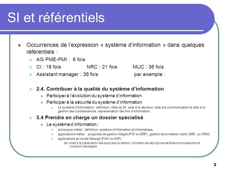 2 SI et référentiels Occurrences de lexpression « système dinformation » dans quelques référentiels : AG PME-PMI : 6 fois CI : 19 fois NRC : 21 fois M