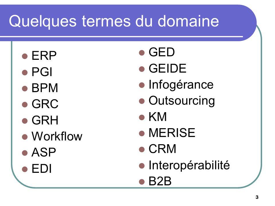 3 Quelques termes du domaine ERP PGI BPM GRC GRH Workflow ASP EDI GED GEIDE Infogérance Outsourcing KM MERISE CRM Interopérabilité B2B