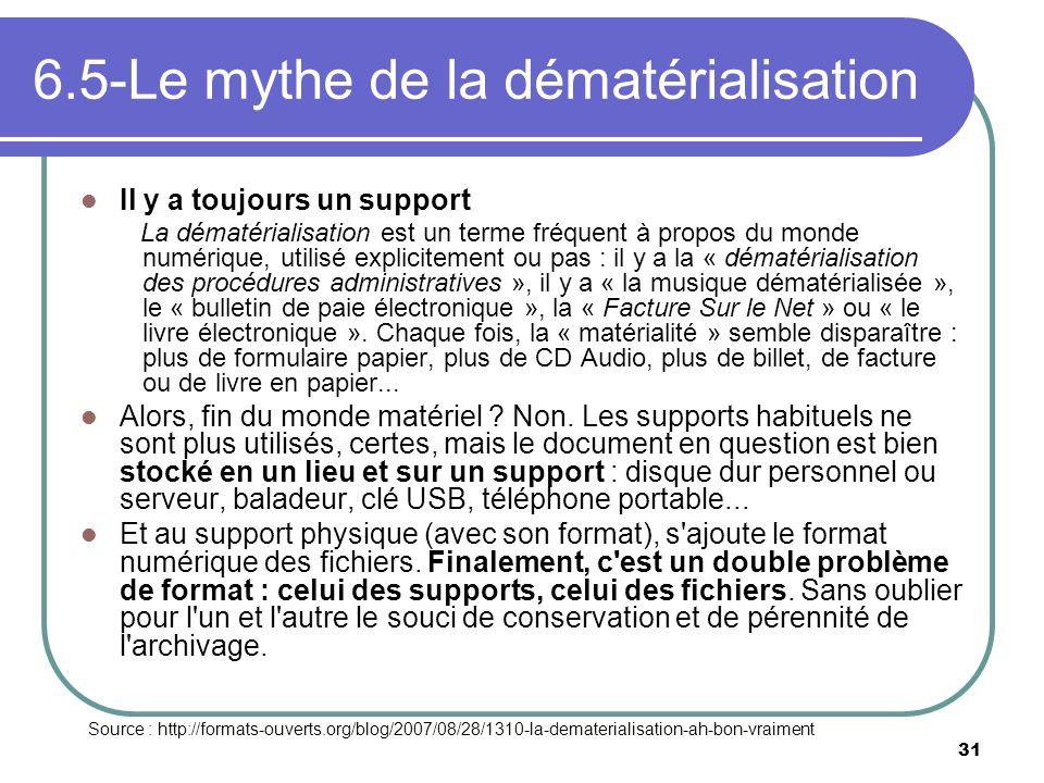 31 6.5-Le mythe de la dématérialisation Il y a toujours un support La dématérialisation est un terme fréquent à propos du monde numérique, utilisé exp