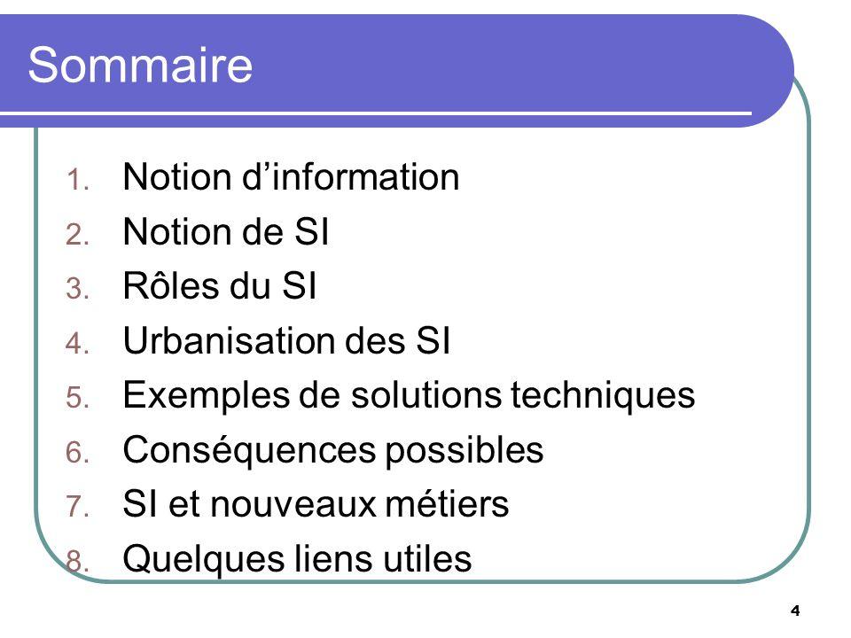 4 Sommaire 1. Notion dinformation 2. Notion de SI 3. Rôles du SI 4. Urbanisation des SI 5. Exemples de solutions techniques 6. Conséquences possibles