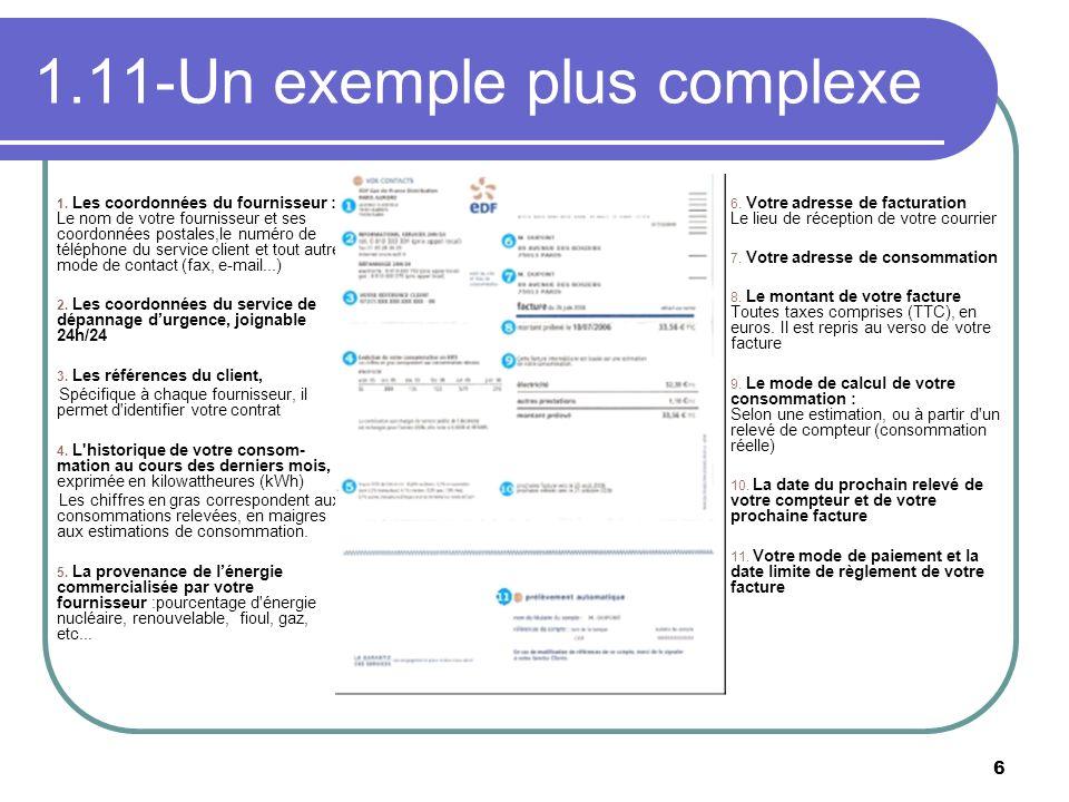 6 1.11-Un exemple plus complexe 1. Les coordonnées du fournisseur : Le nom de votre fournisseur et ses coordonnées postales,le numéro de téléphone du