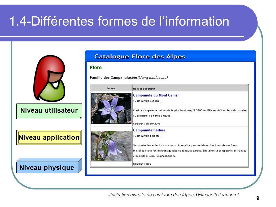 9 1.4-Différentes formes de linformation 010010011101010111010110110100010110100110 Niveau physique Niveau application Niveau utilisateur Illustration