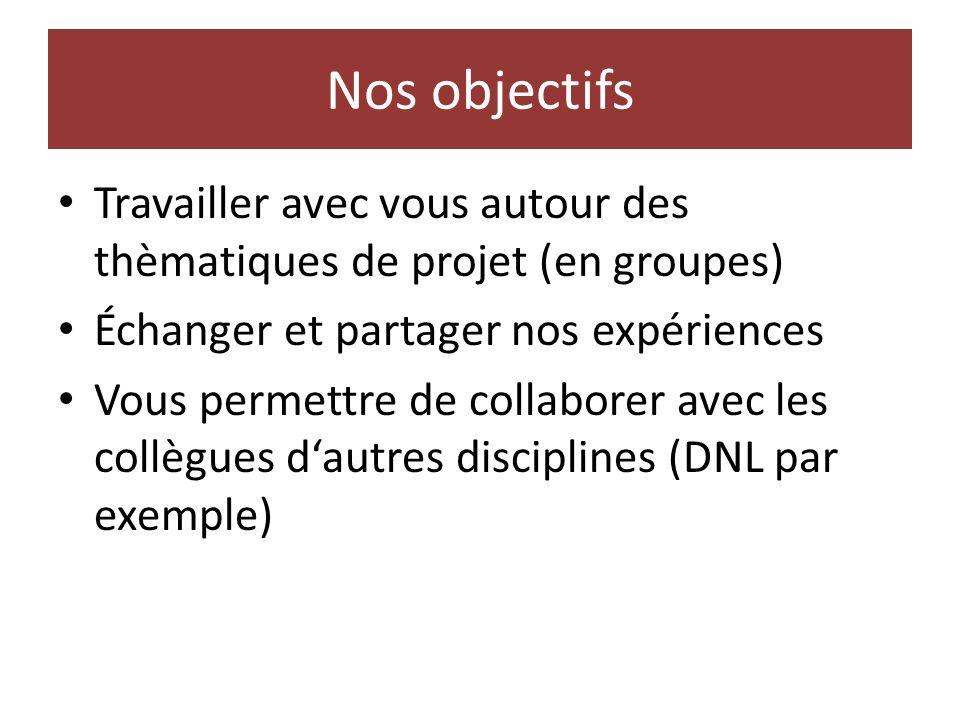 Nos objectifs Travailler avec vous autour des thèmatiques de projet (en groupes) Échanger et partager nos expériences Vous permettre de collaborer avec les collègues dautres disciplines (DNL par exemple)