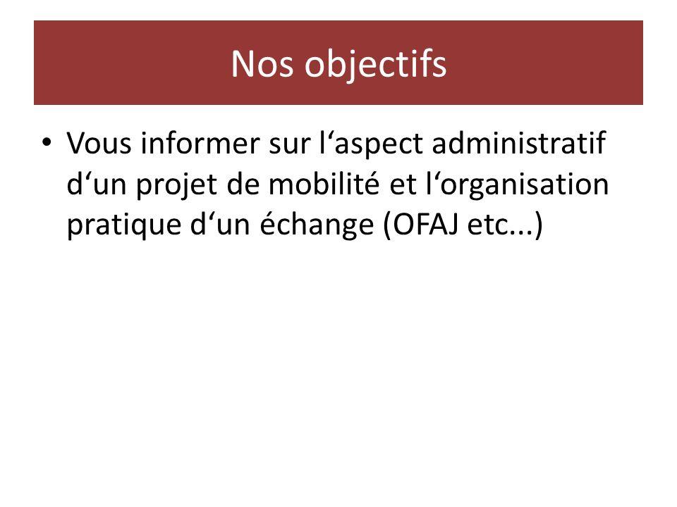 Nos objectifs Vous informer sur laspect administratif dun projet de mobilité et lorganisation pratique dun échange (OFAJ etc...)