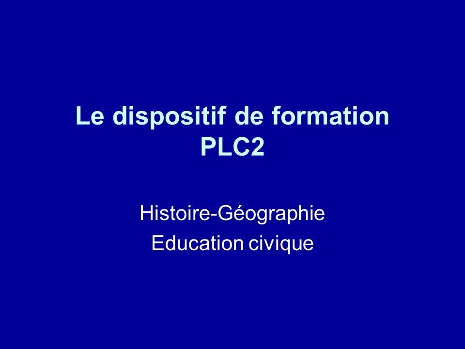 Le dispositif de formation PLC2 Histoire-Géographie Education civique