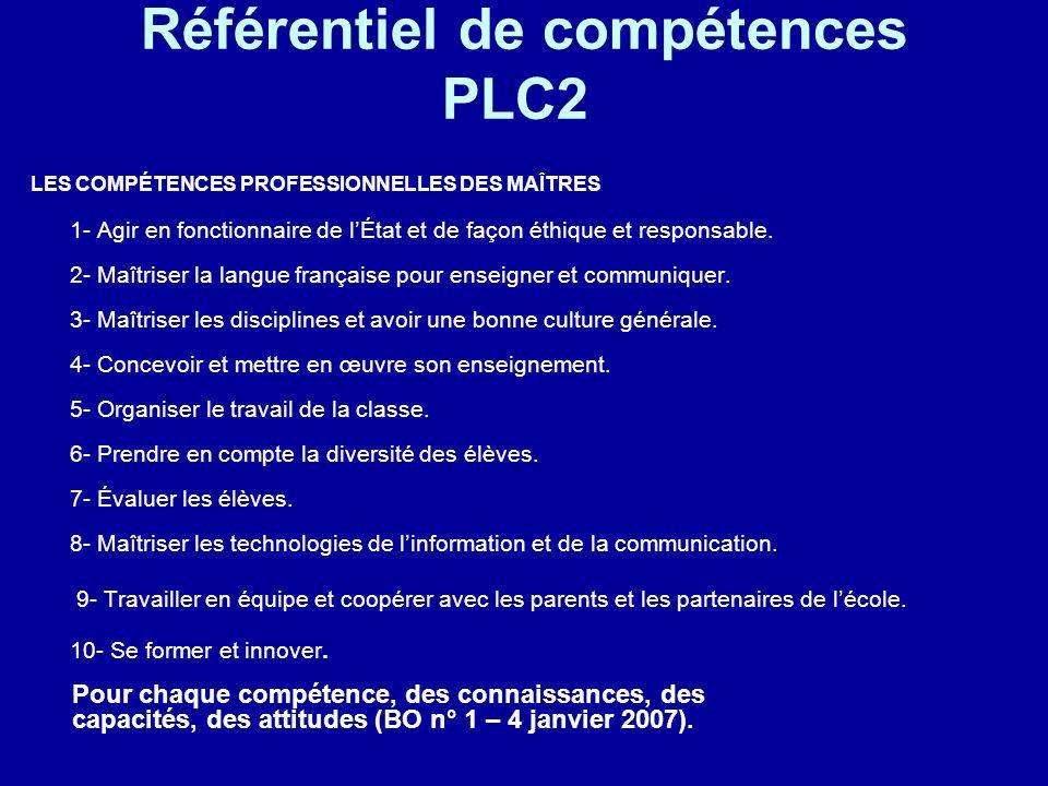 Référentiel de compétences PLC2 LES COMPÉTENCES PROFESSIONNELLES DES MAÎTRES 1- Agir en fonctionnaire de lÉtat et de façon éthique et responsable. 2-