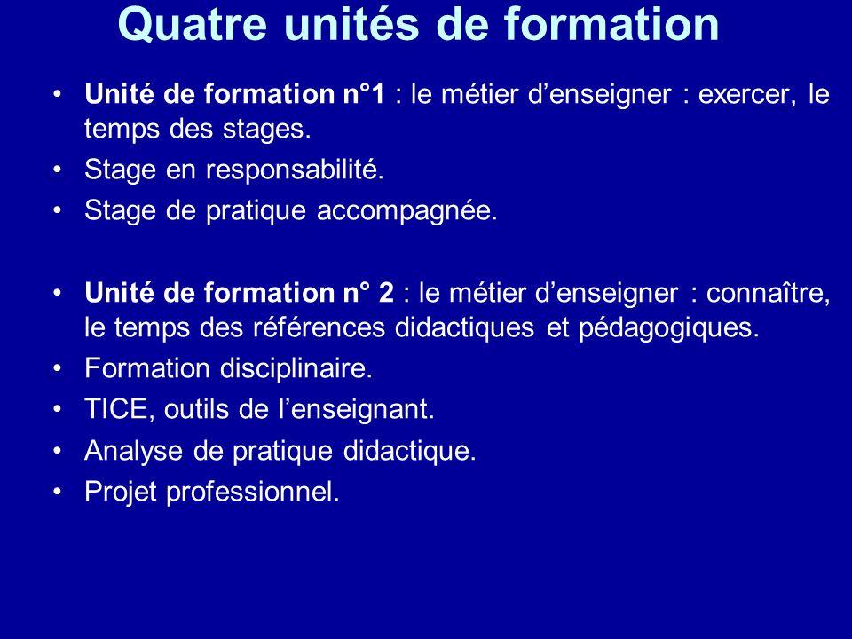 Quatre unités de formation Unité de formation n°1 : le métier denseigner : exercer, le temps des stages. Stage en responsabilité. Stage de pratique ac