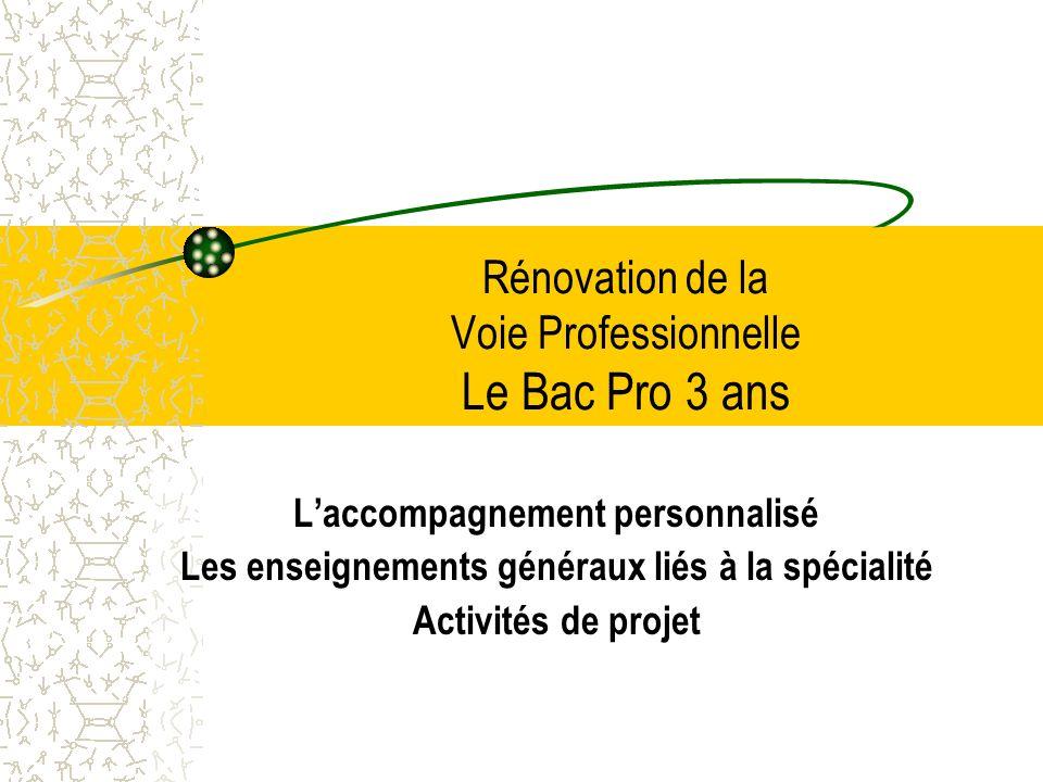 Rénovation de la Voie Professionnelle Le Bac Pro 3 ans Laccompagnement personnalisé Les enseignements généraux liés à la spécialité Activités de proje