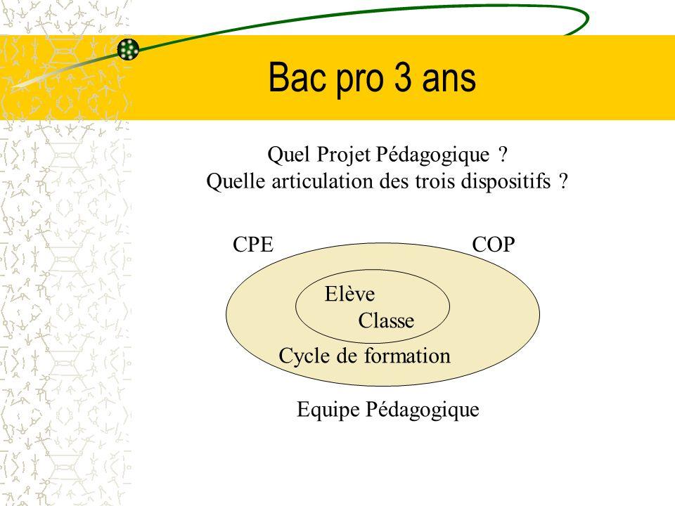 Bac pro 3 ans Equipe Pédagogique Cycle de formation CPECOP Elève Classe Quel Projet Pédagogique ? Quelle articulation des trois dispositifs ?