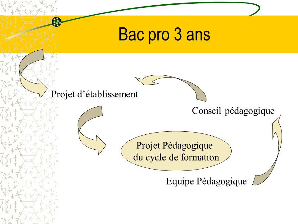 Bac pro 3 ans Projet Pédagogique du cycle de formation Equipe Pédagogique Projet détablissement Conseil pédagogique