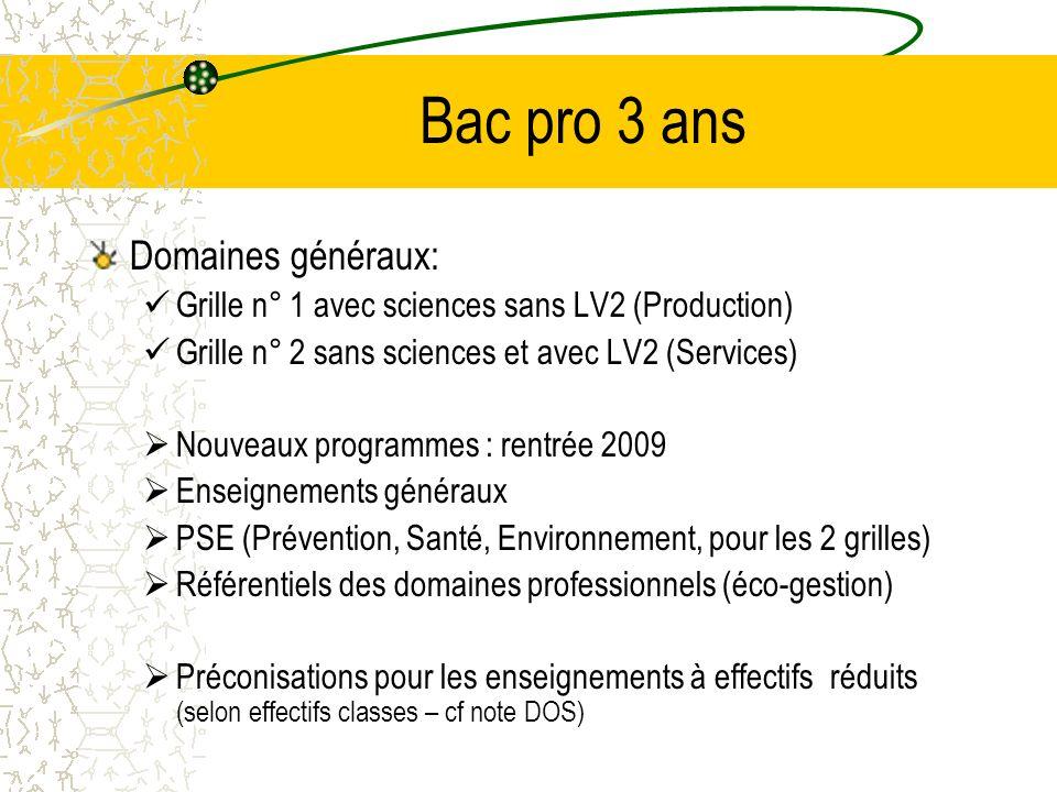 Bac pro 3 ans Domaines généraux: Grille n° 1 avec sciences sans LV2 (Production) Grille n° 2 sans sciences et avec LV2 (Services) Nouveaux programmes