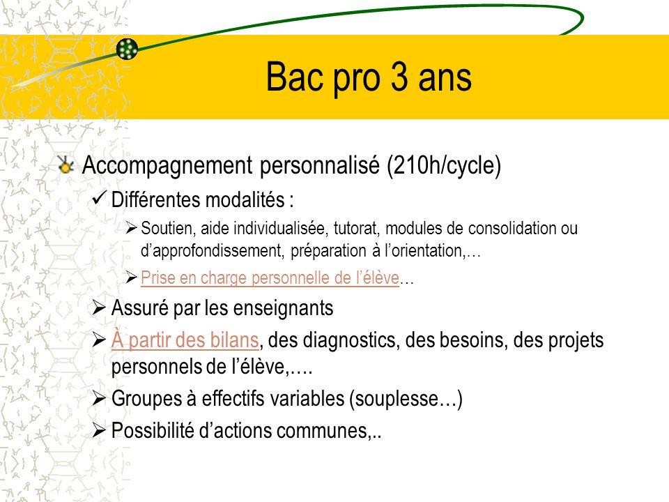 Bac pro 3 ans Accompagnement personnalisé (210h/cycle) Différentes modalités : Soutien, aide individualisée, tutorat, modules de consolidation ou dapp