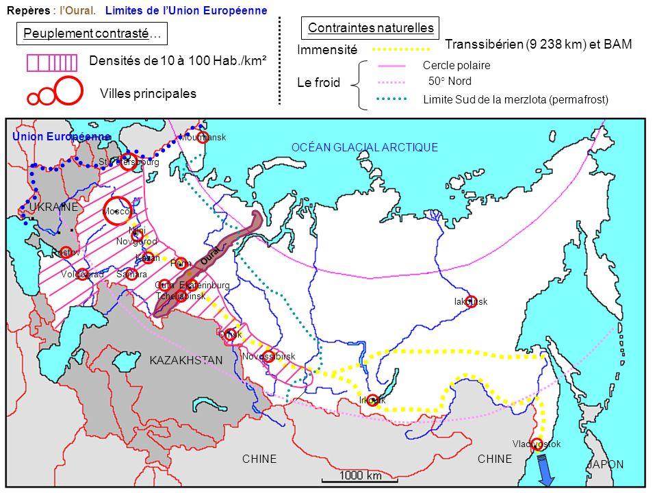 CHINE KAZAKHSTAN UKRAINE JAPON OCÉAN GLACIAL ARCTIQUE Villes principales St Petersbourg Densités de 10 à 100 Hab./km² Moscou Peuplement contrasté… Con
