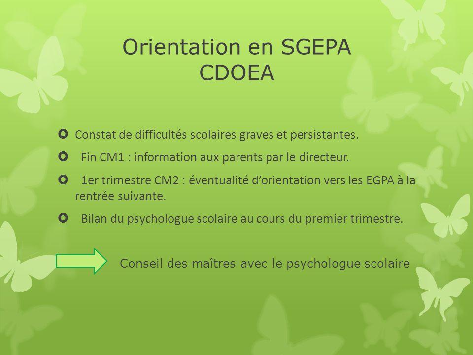 Orientation en SGEPA CDOEA Constat de difficultés scolaires graves et persistantes. Fin CM1 : information aux parents par le directeur. 1er trimestre