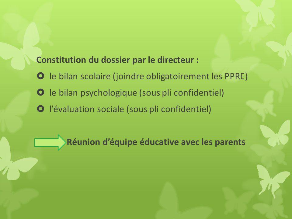Constitution du dossier par le directeur : le bilan scolaire (joindre obligatoirement les PPRE) le bilan psychologique (sous pli confidentiel) lévalua