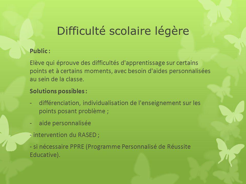 Difficulté scolaire légère Public : Elève qui éprouve des difficultés d'apprentissage sur certains points et à certains moments, avec besoin d'aides p