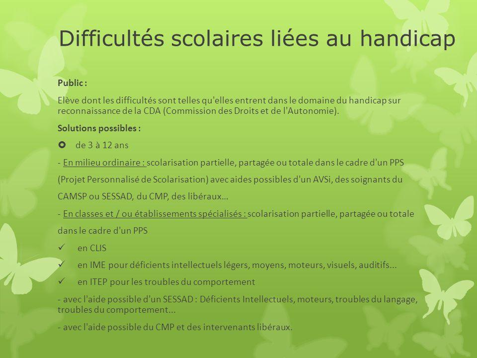 Difficultés scolaires liées au handicap Public : Elève dont les difficultés sont telles qu'elles entrent dans le domaine du handicap sur reconnaissanc