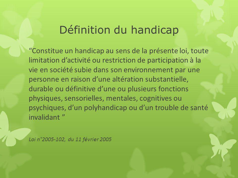 Définition du handicap Constitue un handicap au sens de la présente loi, toute limitation dactivité ou restriction de participation à la vie en sociét