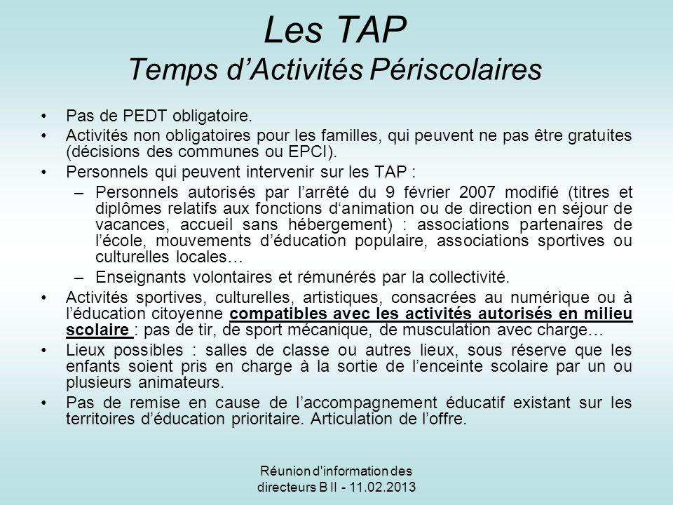 Réunion d information des directeurs B II - 11.02.2013 Les TAP Temps dActivités Périscolaires Pas de PEDT obligatoire.