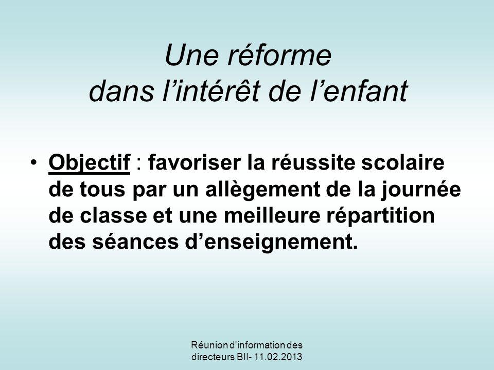 Réunion d information des directeurs B II -11.02.2013 Une réforme dans lintérêt de lenfant et de lélève Pourquoi .