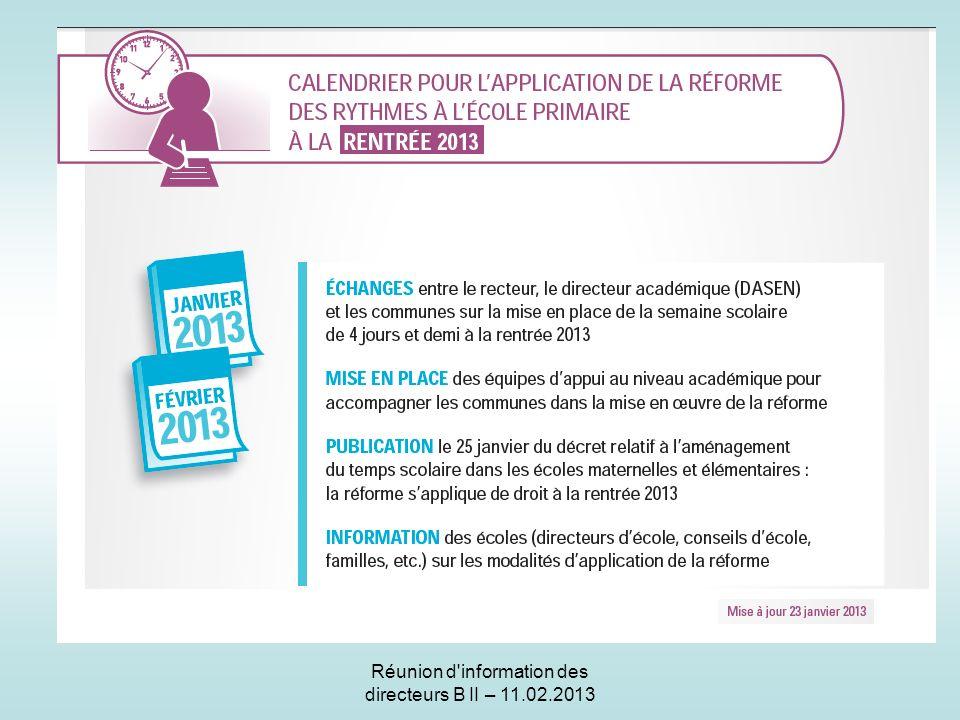 Réunion d information des directeurs B II – 11.02.2013