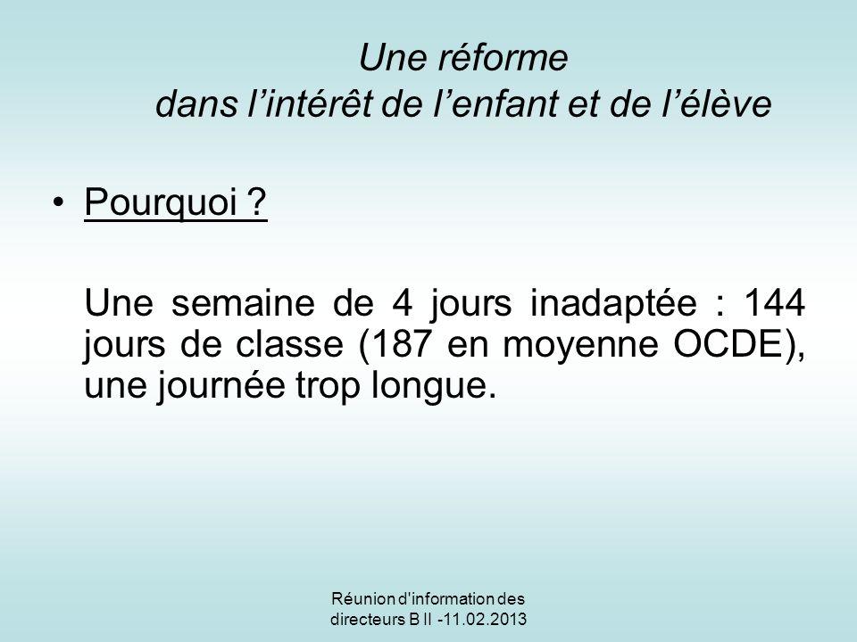 Réunion d information des directeurs B II - 11.02.2013