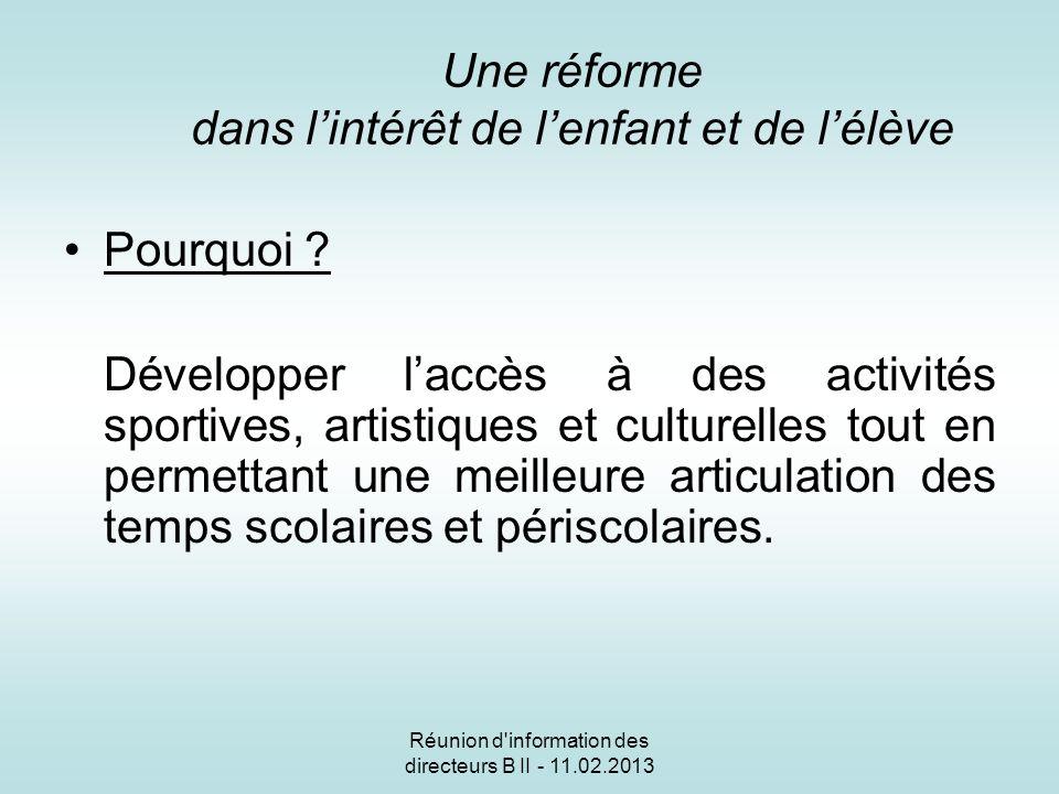 Réunion d information des directeurs B II - 11.02.2013 Une réforme dans lintérêt de lenfant et de lélève Pourquoi .