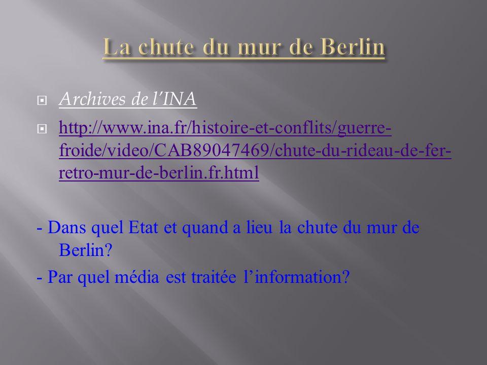 Archives de lINA http://www.ina.fr/histoire-et-conflits/guerre- froide/video/CAB89047469/chute-du-rideau-de-fer- retro-mur-de-berlin.fr.html http://ww