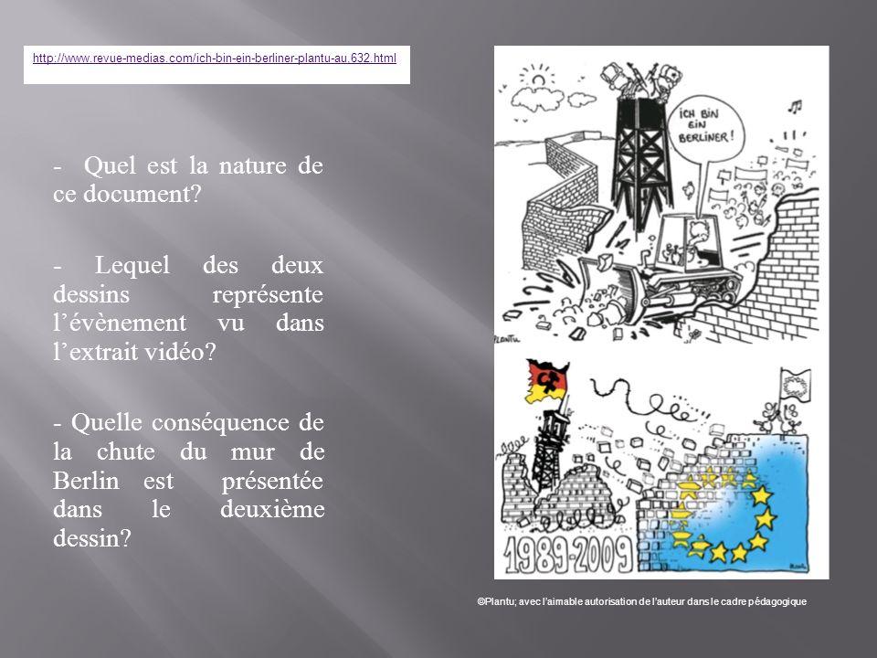 - Quel est la nature de ce document? - Lequel des deux dessins représente lévènement vu dans lextrait vidéo? - Quelle conséquence de la chute du mur d