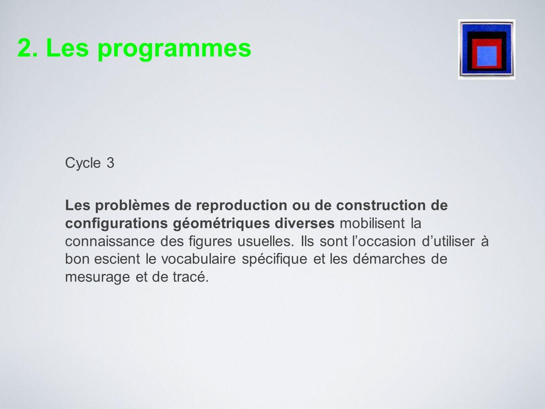 Cycle 3 Les problèmes de reproduction ou de construction de configurations géométriques diverses mobilisent la connaissance des figures usuelles. Ils