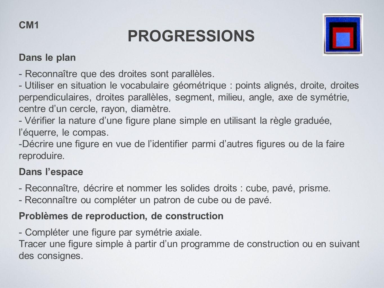 PROGRESSIONS CM1 Dans le plan - Reconnaître que des droites sont parallèles. - Utiliser en situation le vocabulaire géométrique : points alignés, droi