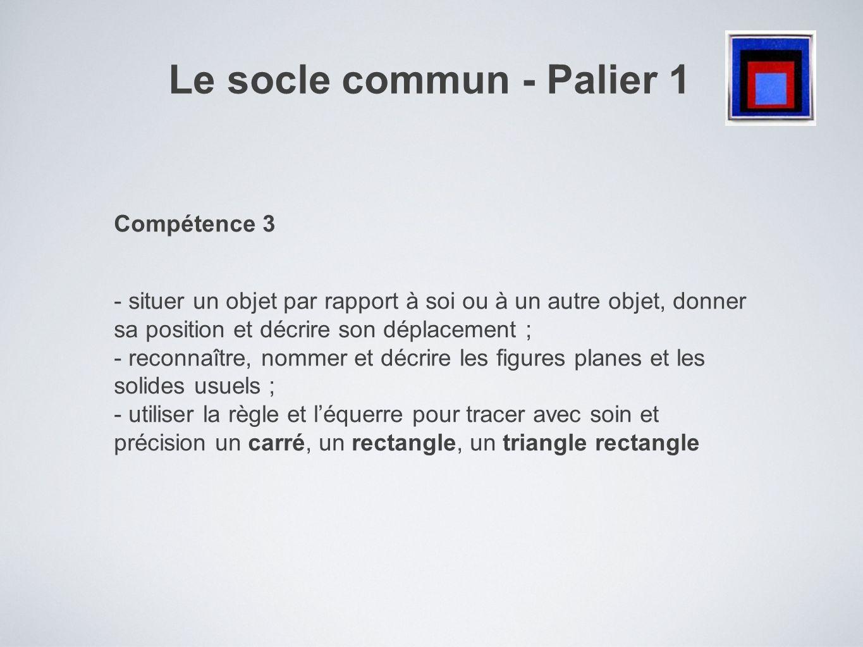 Le socle commun - Palier 1 Compétence 3 - situer un objet par rapport à soi ou à un autre objet, donner sa position et décrire son déplacement ; - rec