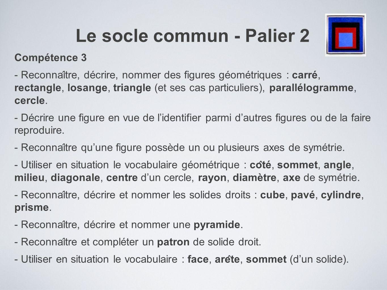 Le socle commun - Palier 2 Compétence 3 - Reconnai ̂ tre, décrire, nommer des figures géométriques : carré, rectangle, losange, triangle (et ses c