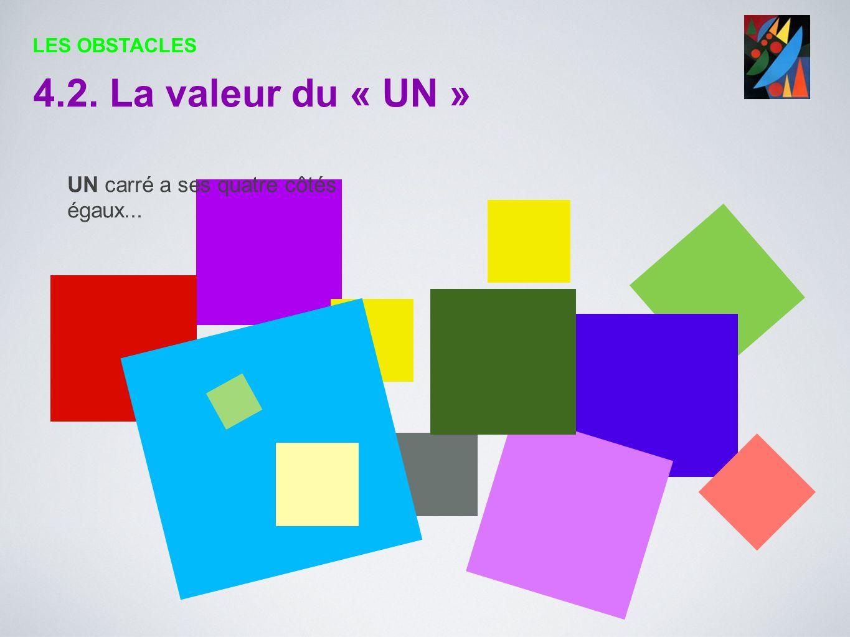 UN carré a ses quatre côtés égaux... 4.2. La valeur du « UN » LES OBSTACLES